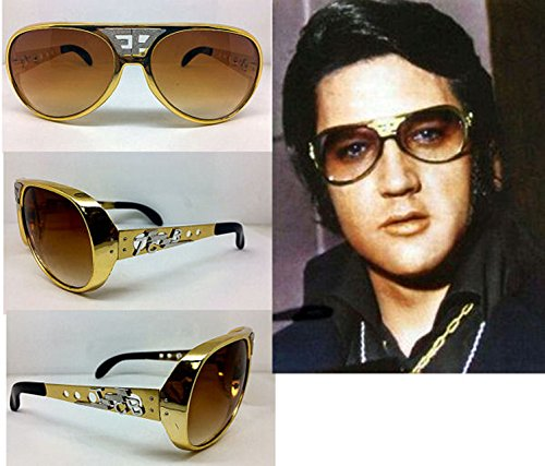ELVIS SUNGLASSES GOLD BROWN ORIGINAL WHITE EP TCB GRAND PRIX - Tcb Sunglasses Elvis