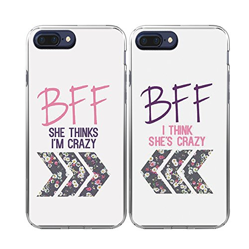 iPhone7 Plus Case-TTOTT 2X Cases Floral Best Friend Couple Cases New Fashion Matching BFF 2 Pieces Crazy Soft TPU Case Bumper Shockproof Cover Case for iPhone7 plus 5.5''inch 2016 New Model