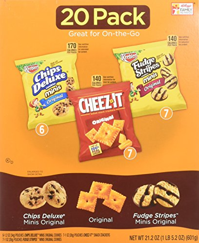 : Keebler Cookies and Cheez-It Crackers Snack Packs Variety Pack, 20 Count (Packaging May Vary)