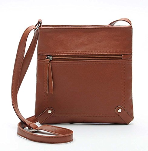 Ecokaki(TM) Women's PU Leather Fashion Handbag Shoulder Bag Functional Multi Pocket Crossbody Bag, Brown by Ecokaki