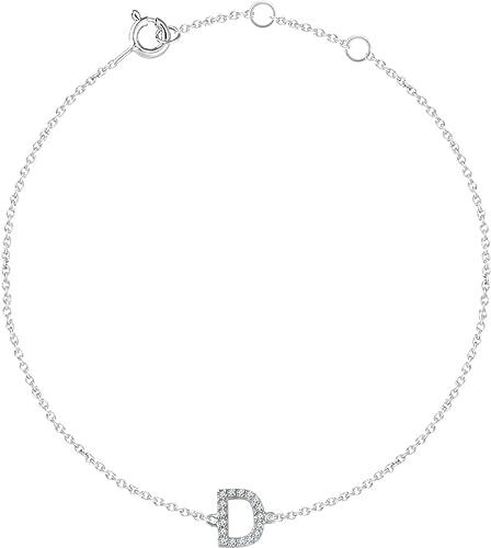 Set-14K White .06 CTW Diamond InitialZ 6-7 Bracelet