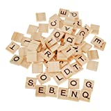 100 Wooden Alphabet Scrabble Tiles Black Letters & Numbers For Crafts Wood S