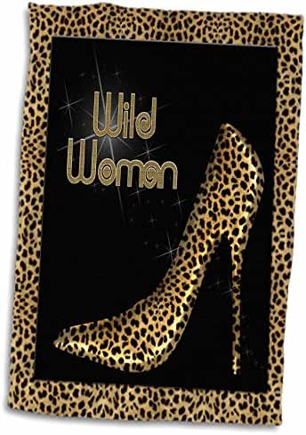 3dRose Doreen Erhardt Animal Print Collection - Cheetah Print Wildl Woman Stiletto Pump and Diamond Bling - 12x18 Hand Towel (twl_21804_1)