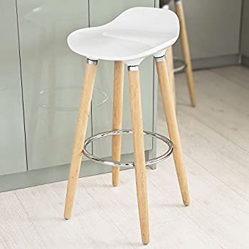 Merveilleux SoBuy ABS Plastic Bar Stool, Counter Stool,Kitchen Breakfast Barstool With  Wooden Legs (