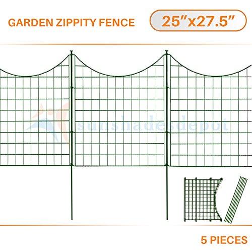 Sunshades Depot 5pcs Green Zippity Fence Garden Picket Metal Lattice Metal Panel 25' Height x 27.5' Width