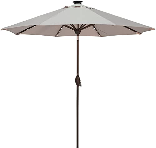 Solar Powered Patio Umbrella with 64 LED Lights Market Outdoor Umbrella with Tilt Crank Umbrella Cover, 9 Feet, Beige