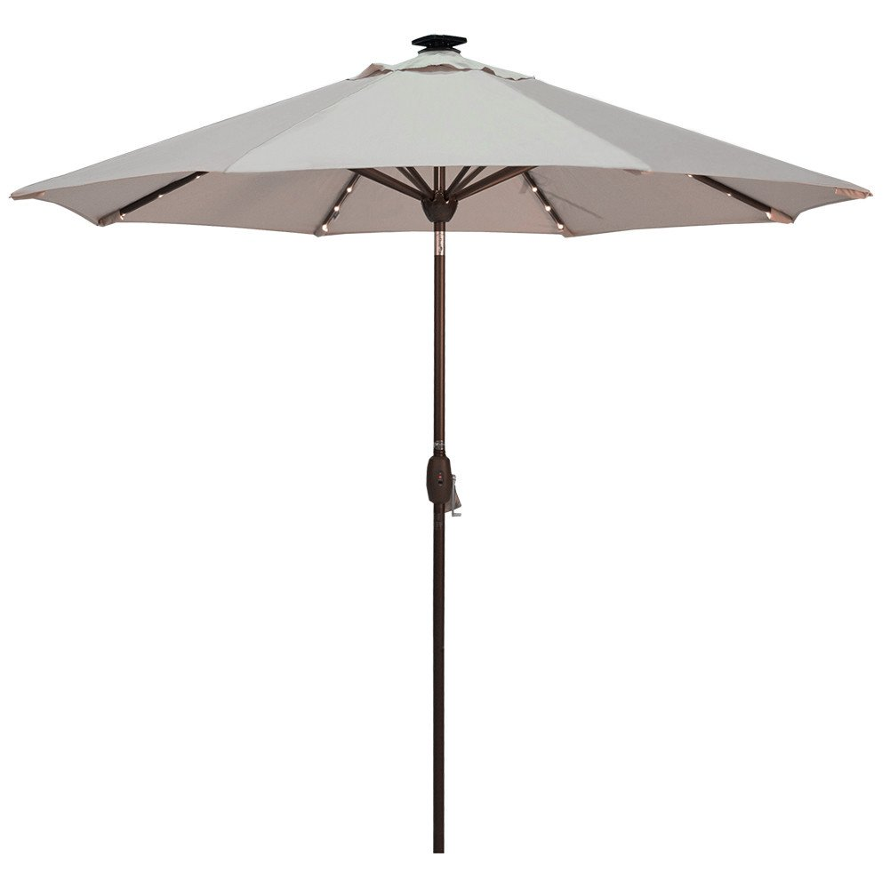 Solar Powered Patio Umbrella with 64 LED Lights Market Outdoor Umbrella with Tilt Crank Umbrella Cover, 9 Feet, Beige