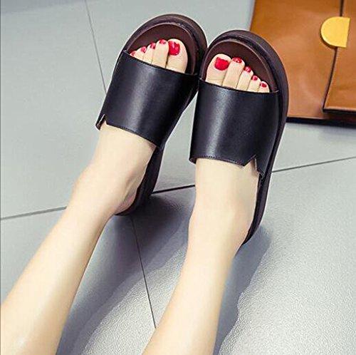 Moda de Zapatillas Negro Vestir Black Tacones Frescas Estudiantes para Sandalias Leather Gruesa y de Altos Suela Color de con wHqtqS