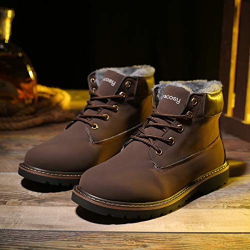boot Casual Lightweight Brown Lining Outdoor Boots Fur Men's Camfosy Shoes Snow Suede Slip Non Work Winter Warm fFWqpw