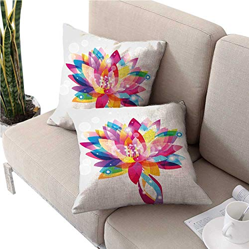 - warmfamily LotusSquare Euro Sham Cushion CoverRainbow Colored Lotus Petals in Vibrant Hippie Color Tones Mystic Purity Illustrationcute Cushion Covers 24