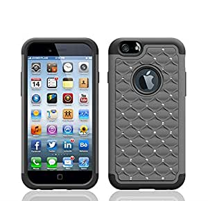 """Life Sweetly Durable Hybrid Total Defense Protector Cover Bling Crystal Diamond Gray Luxury Case for Apple iPhone 6 4.7"""""""