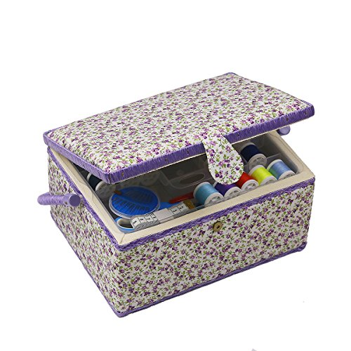 Sewing Basket - Includes Sewing Kit Accessories/Insert Tray/Handle/ Built-in Pin Cushion & Interior Pocket - Wooden&Fabric - Large 12.2 x 9.2 x 6.7 inches - by D&D Design by D&D