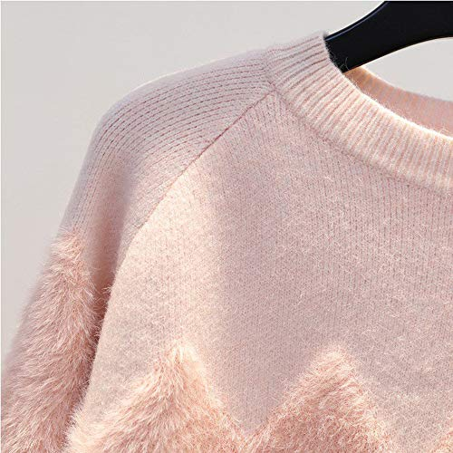 Selvaggio Pink Gzz Ondulato Jacquard green Donna Sciolto Maglieria Maglione Inverno Leggero Nuovo Girocollo Top Pullover Stile Maglia Autunno wxq1OUwTH
