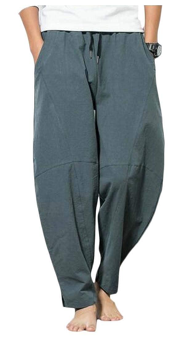 pipigo Men Drawstring Beach Loose Plus Size Ethnic Style Casual Harem Pants 2 S