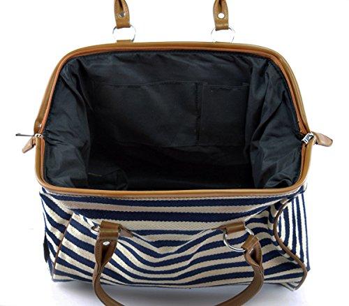 Classic Nautical Stripe 17'' Framed Duffel Bag Carry On Shoulder Tote Handbag by Tara's Travelers (Image #2)