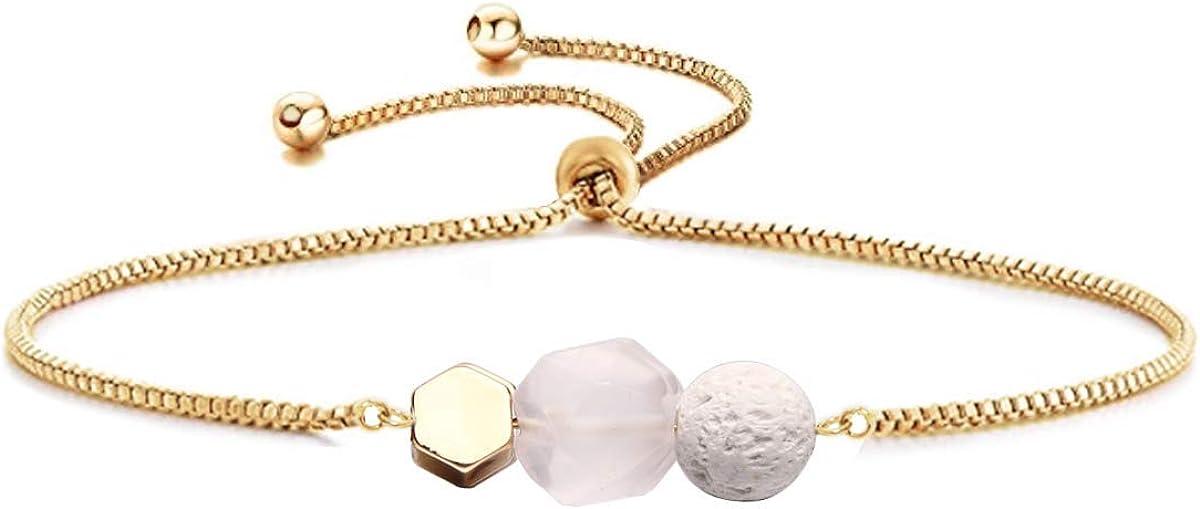 Jardme Essential Oil Diffuser Bracelet, Lava and Rose Quartz Essential Oil Bracelet, Rose Quartz Gemstone Bracelet, Adjustable Gold Bracelet