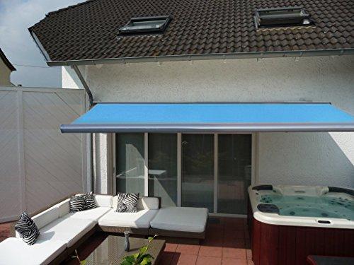 Prime Tech Elektrische Kassettenmarkise / Gelenkarm-Markise 450 x 300 cm / Gehäuse anthrazit-grau / Tuch hell-blau / #583