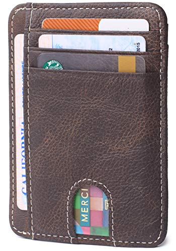 Slim Minimalist Credit Card Holder Front Pocket RFID Blocking Leather Wallets for Men & Women (Vintga Coffee) ()