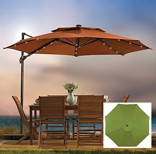 Amazon.com : Outdoor Patio Cantilever Umbrella 11 Foot Round Canopy With  Solar Powered Lights Includes Base And Storage Cover (Green) : Patio, Lawn  U0026 Garden