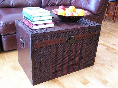 Original Hawaii Wooden Chest Wood Steamer Trunk - Large Trunk (Wicker Storage Chests And Trunks)