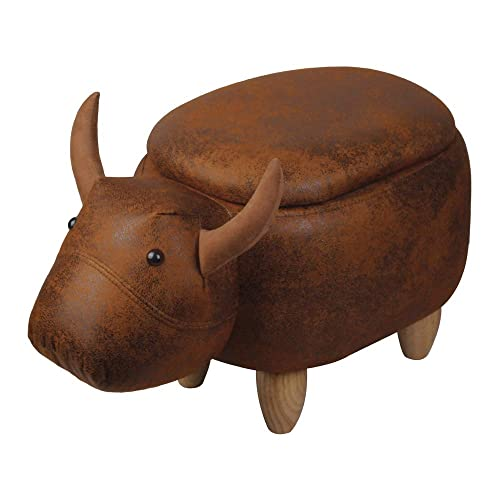 GIA El Toro Bull Kids Ottoman Stool with Storage, Foot Stand and Wooden Legs, Brown