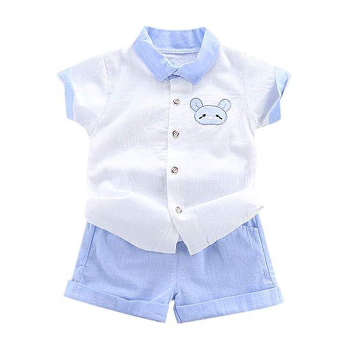 Counjunto de Ropa Bebé Niño Verano BBestseller Casual Camiseta niño Manga Corta y Pantalones Cortos Traje de Dos Piezas Ropa Infantil (2-3 años, Azul)