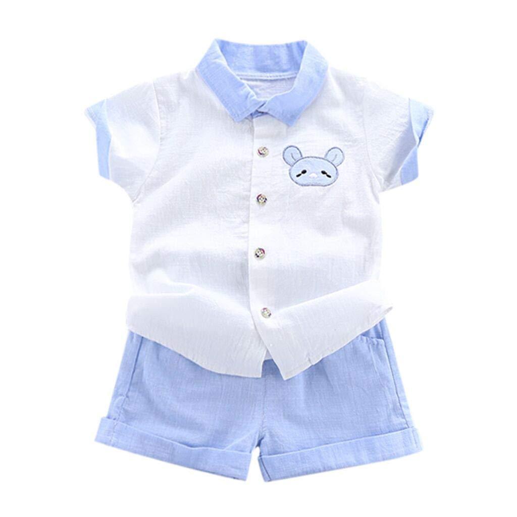 2Pc Boys Outfits Sets, Toddler Kids Button Cartoon Cartoon Lapel Tops Short Pants Casual Clothes Suit (18-24 Months, Blue)
