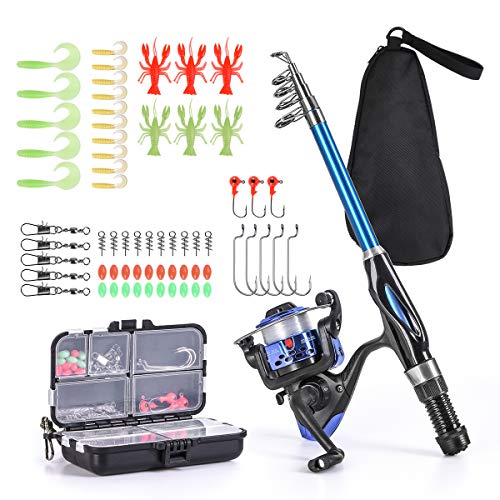 Leo Light Weight Kids Fishing Pole Telescopic Fishing Rod and Reel Combos with Full Kits Lure Case and Carry Bag for Youth Fishing and Beginner (15OCM Rod and Reel Combos with Full Kits and Carry Bag) ()