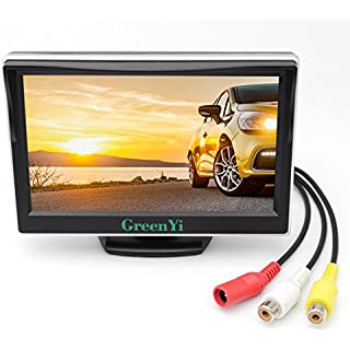 Sale GreenYi Vehicle On-Dash Backup Monitor 5' Digital HD Car TFT LCD Color Screen Display with 2 Video Input for Rear View Camera
