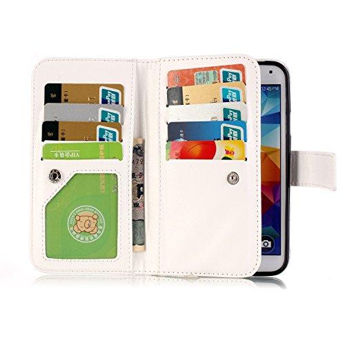 Para Smartphone Samsung Galaxy S5/i9600Funda Flip Cover Funda Piel [Tarjetero] funda piel cartera Executive Diseño + Polvo Conector rojo 6 10