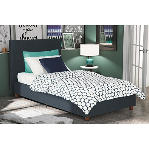 Upholstered Bed Twin Size, Linen Headboard, Slats Included, 4 Wooden Legs, Center Metal Rail, Dark Blue Finish, Bedding, Made from Fabric, Bundle with Expert Guide for Better (Rails Slats)