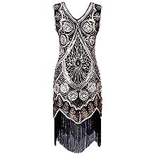 BIUBIU Women's Retro 1920s Sequin Tassel Cocktail Gatsby Flapper Dress S-XL