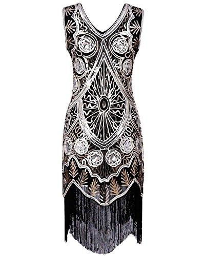 Années 1920 Rétro Pompon Sequin Des Femmes Biubiu Cocktail Robe De Flapper Gatsby S-or # 2 Xl