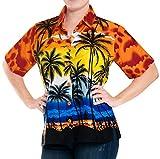 LA LEELA Likre Camp Aloha Beach Top Shirt Orange 7 XXL - US 44 - 48C
