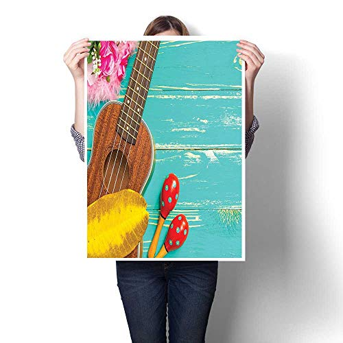 1 Piece Wall Art Painting,Ukulele with Hawaii Style Background Wooden Classical Vacation Stylized Painting,Prints On Canvas for Living Room Decor,20