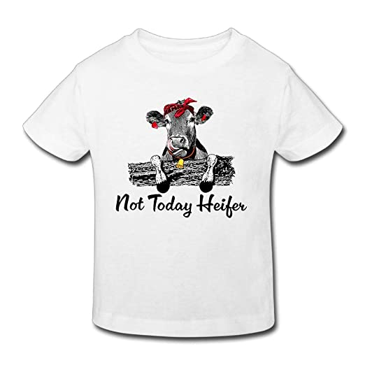 653fc532a Not Today Cute Heifer Unisex Kids Fashion Short Sleeve Cotton T-Shirt White  2 Toddler
