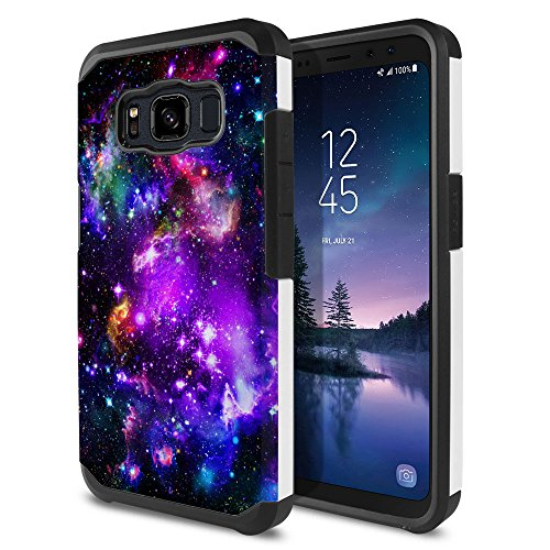 FINCIBO Case Compatible with Samsung Galaxy S8 Active G892A 5.8 inch, Dual Layer Hard Back Hybrid Protector Case Cover TPU for Galaxy S8 Active (NOT FIT S8/ S8 Plus) - Purple Marvel Nebula Galaxy
