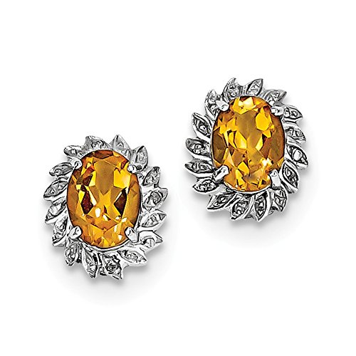 Sterling Silver Rhodium Citrine Diamond Earrings by Jewels By Lux