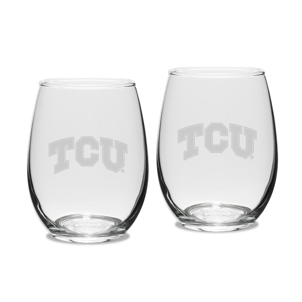 NCAA TCU Horned Frogs Adult Set of 2-15 oz Stemless Wine Glass Deep Etched Engraved, One Size, Clear