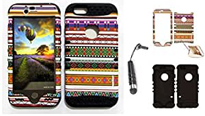 Cell-Attire Shockproof Hybrid Case For Apple iPhone 6 and Stylus Pen, Black Soft Rubber Skin with Hard Cover (Tribal, Pattern, Lines) AT&T, T-Mobile, Sprint, Verizon, Boost Mobile, U.S Cellular, Cricket by runtopwell