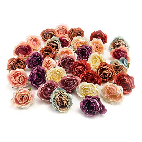 Fake flower heads in bulk wholesale for Crafts Flower Head Silk Rose DIY Scrapbooking Decorative Flower Heads Decor for Home Garden Wedding Birthday Party Decoration Supplies 30PCS 4cm (Colorful) from Fake flower heads in bulk wholesale