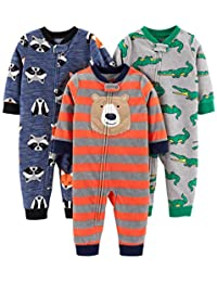 Simple Joys by Carter's Baby and Toddler Boys' 3-Pack Loose Fit Fleece Footless Pajamas