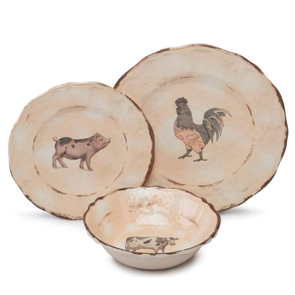 Melamine Dinnerware Set for 4-12pcs Camping Dishes Set for Outdoor Indoor Use, Dishwasher Safe, Break-Resistant, Animal Pattern Yinshine J004