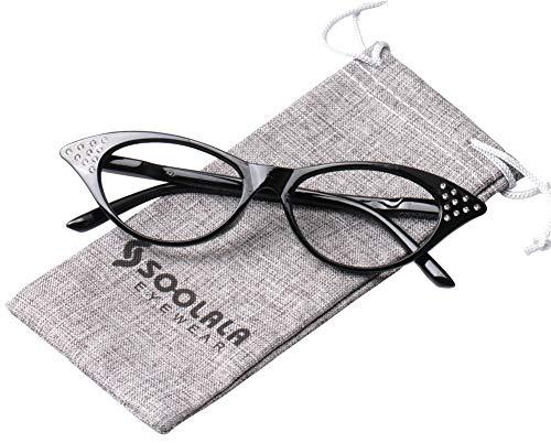 SOOLALA Womens Fashion Designer Rhinestone Cat Eye Magnifying Reading Glasses