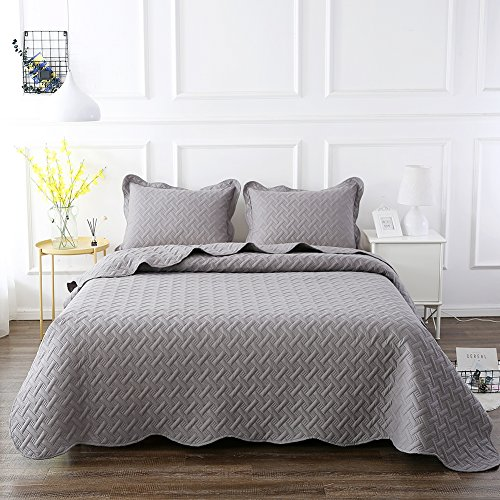 NEWLAKE 3 Piece Quilt Bedspread Coverlet Set,Embossed Rattan Pattern, Queen Size