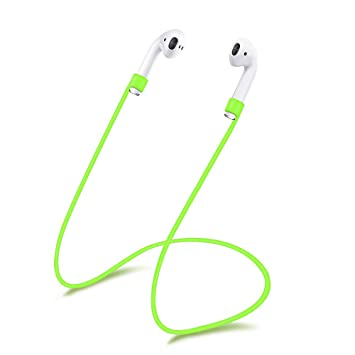 XIHAMA - Correa de Silicona para Auriculares AirPods, Cable Flexible para Apple iPhone 7, 7 Plus, inalámbricos, Bluetooth (Nunca Pierdas Tus AirPods) Verde: ...