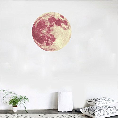 XQXCL 30cm 3D Large Moon Fluorescent Wall Art Sticker Removable DIY -Planet Decal Solar System Decor for Kids Room