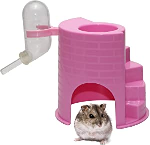 3 in 1 Hamster Hanging Water Bottle Food Bowl and Hut Multifunction Funny Gym for Dwarf Hamster Mouse Rat Gerbil