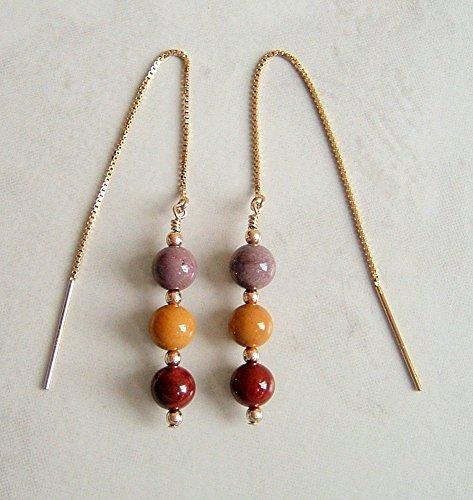 Mauve Yellow Purple Round Mookaite Stone Earrings 14K Gold Filled Ear Threaders Mauve Stone