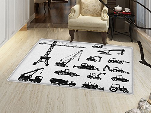 smallbeefly Construction Door Mats for inside Black Silhouettes Concrete Mixer Machines Industrial Set Trucks Tractors Bath Mat for tub Bathroom Mat Black White